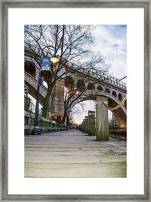 Manayunk - Towpath And Bridge Framed Print by Bill Cannon
