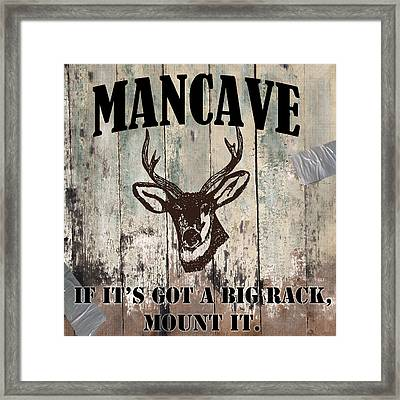 Mancave Deer Rack Framed Print by Mindy Sommers