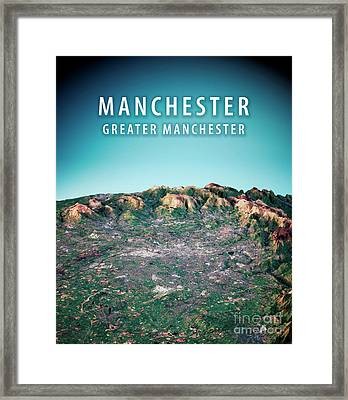 Manchester 3d Render Satellite View Topographic Map Vertical Framed Print by Frank Ramspott