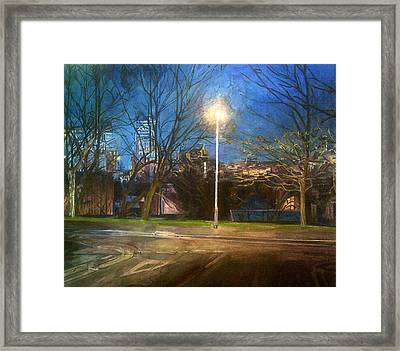 Manchester Street With Light And Trees Framed Print