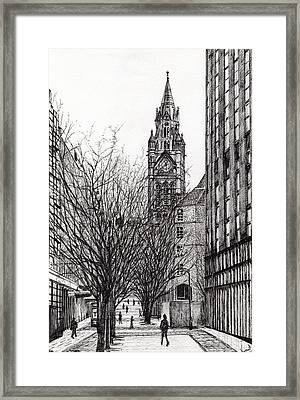 Manchester Town Hall From Deansgate Framed Print by Vincent Alexander Booth