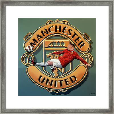 Manchester United - Manchester Painting Framed Print by Paul Meijering