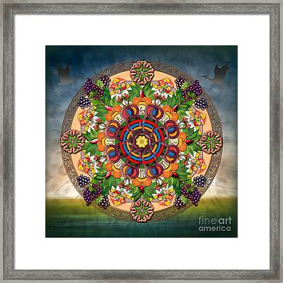 Mandala Armenian Grapes Framed Print by Bedros Awak