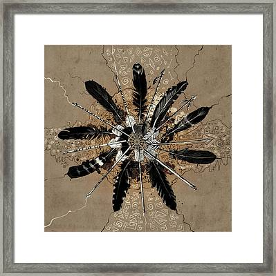 Mandala Arrow Feathers Framed Print