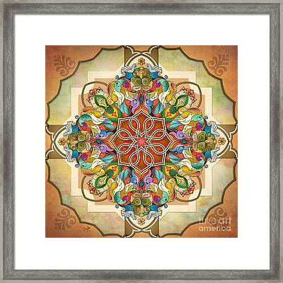 Mandala Birds Framed Print by Bedros Awak