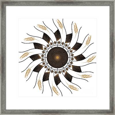 Framed Print featuring the digital art Mandala Black And Gold by Linda Lees