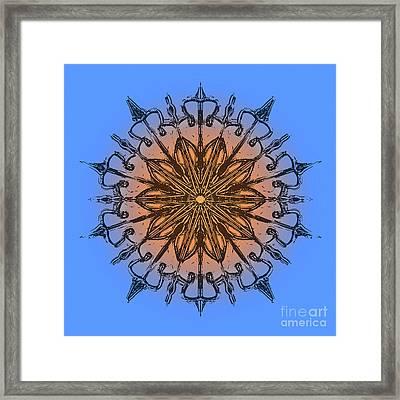 Mandala Black, Blue And Orange Framed Print by Pablo Franchi