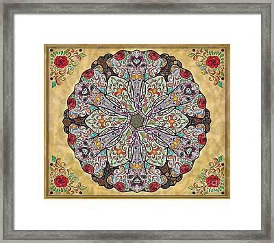 Mandala Elephants Sp Framed Print by Bedros Awak
