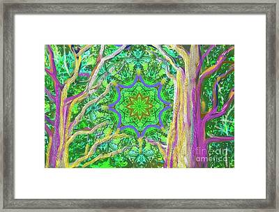 Framed Print featuring the painting Mandala Forest by Hidden Mountain