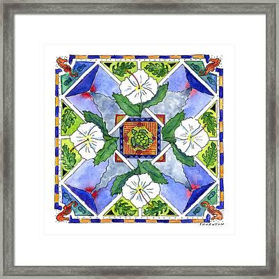 Mandala IIi - White Hibiscus Framed Print by Diane Thornton