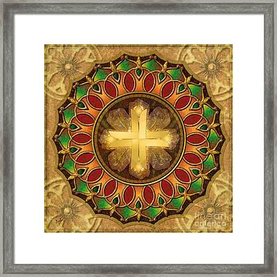 Mandala Illuminated Cross Framed Print by Bedros Awak