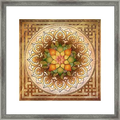 Mandala Leaf Rosette V1 Framed Print by Bedros Awak