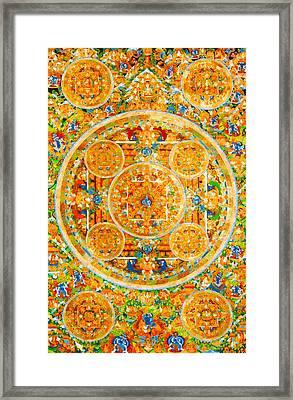 Mandala Of Heruka In Yab Yum And Buddhas 1 Framed Print