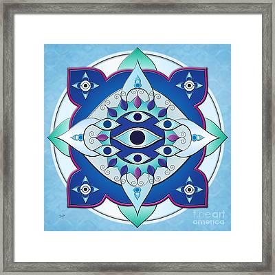 Mandala Of The Seven Eyes Framed Print by Bedros Awak