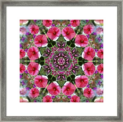 Framed Print featuring the digital art Mandala Pink Patron by Nancy Griswold