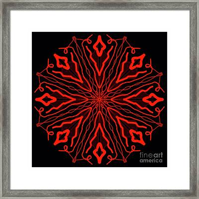 Mandala Red And Black, Fire Mandala Framed Print by Pablo Franchi