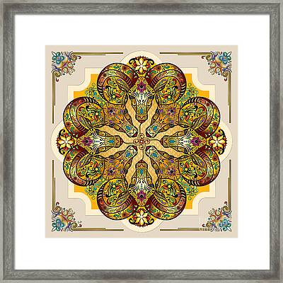 Mandala Sacred Rams - Bright Version Framed Print by Bedros Awak