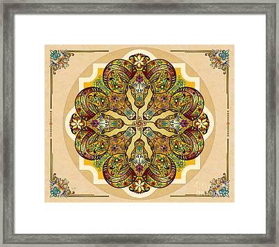 Mandala Sacred Rams - Bright Version Sp Framed Print