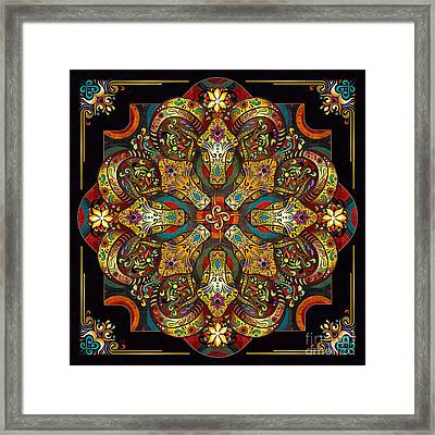 Mandala Sacred Rams - Dark Version Framed Print by Bedros Awak