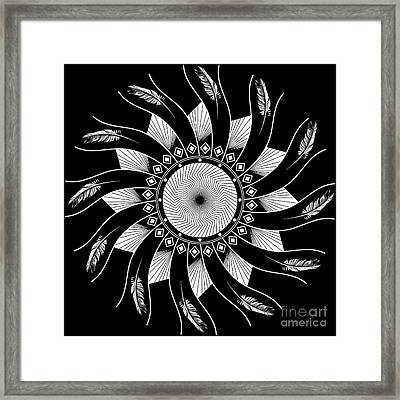 Framed Print featuring the digital art Mandala White And Black by Linda Lees