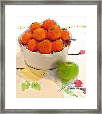 Framed Print featuring the digital art Mandarin With Apple by Alexis Rotella