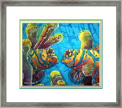 Mandarinfish- Bordered Framed Print by Sue Duda