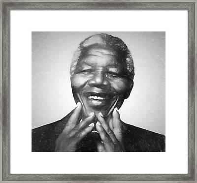 Mandela Charcoal Sketch Framed Print by Dan Sproul