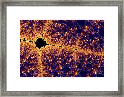 Mandelbrot Set In Golden Space Framed Print by Matthias Hauser