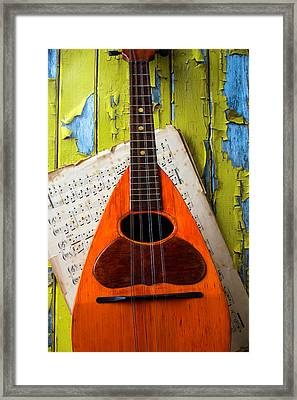 Mandolin And Old Sheet Music Framed Print by Garry Gay