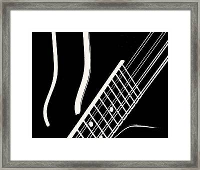 Framed Print featuring the digital art Mandolin Close Bw by Jana Russon