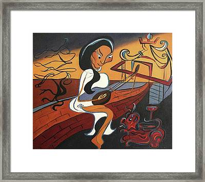 Mandolin Lady Framed Print by Suzanne  Marie Leclair