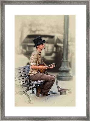 Mandolin Music Man Framed Print by John Haldane