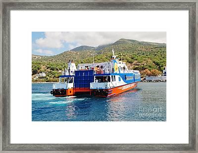 Mandraki Harbour In Nisyros Framed Print by David Fowler