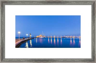 Mandraki Harbour Near Dawn Framed Print by Werner Dieterich