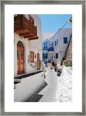 Mandraki Street On Nisyros Framed Print by David Fowler