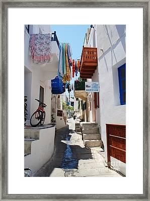 Mandraki Town On Nisyros Framed Print by David Fowler