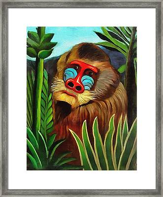 Mandrill In The Jungle Framed Print