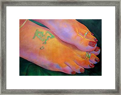 Mandy Toes Orange Framed Print by Jerrold Carton