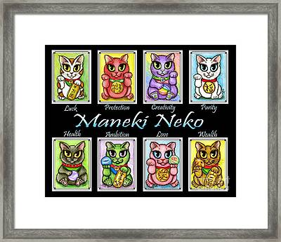 Framed Print featuring the painting Maneki Neko Luck Cats by Carrie Hawks