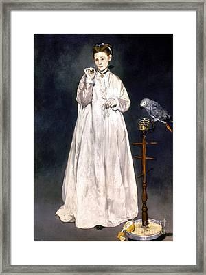 Manet: Woman & Parrot Framed Print