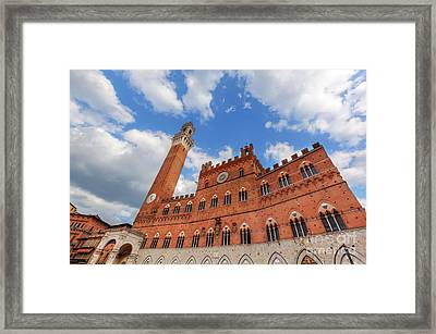 Mangia Tower, Italian Torre Del Mangia In Siena, Italy - Tuscany Region Framed Print by Michal Bednarek