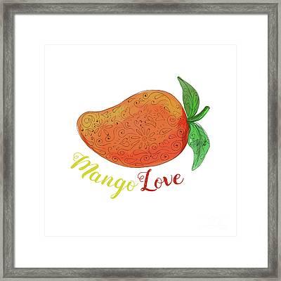 Mango Love Fruit Watercolor Mandala  Framed Print