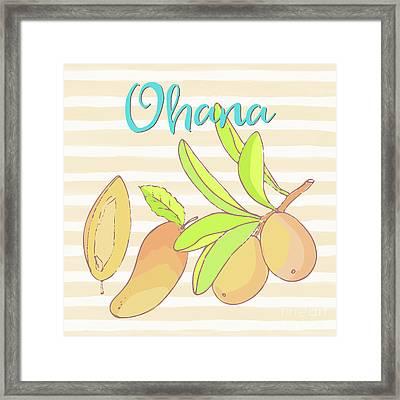 Mango Ohana Tropical Hawaiian Design Of Fruit And Family Framed Print