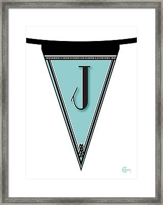Pennant Deco Blues Banner Initial Letter J Framed Print by Cecely Bloom