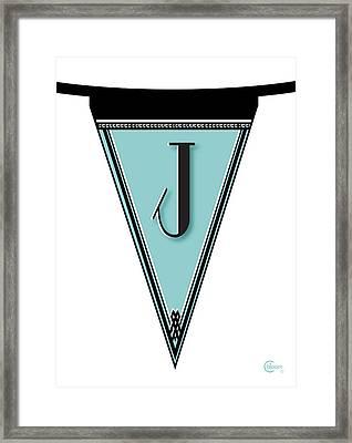 Pennant Deco Blues Banner Initial Letter J Framed Print