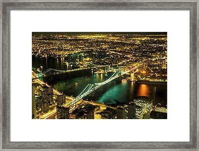 Manhattan And Brooklyn Bridges Framed Print