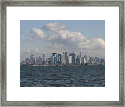 Manhattan And Governors Island Framed Print by Christopher Kirby