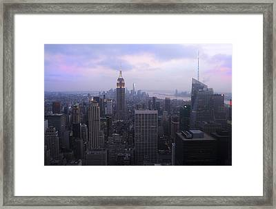 Manhattan At Dawn Framed Print