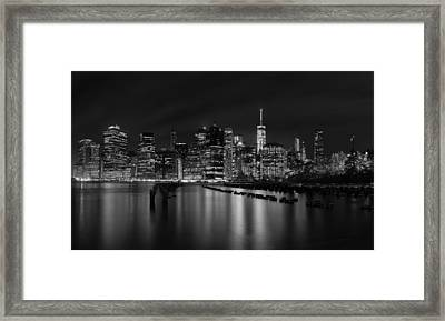 Manhattan At Night In Black And White Framed Print by Andres Leon