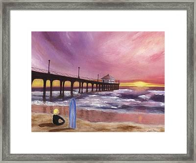 Manhattan Beach Pier Framed Print by Jamie Frier